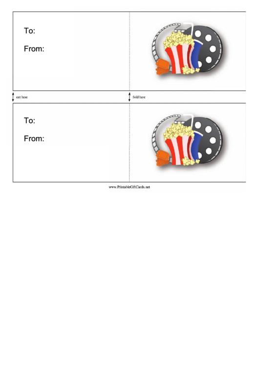 Movie Night Card Template Printable pdf