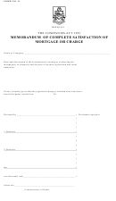 Memorandum Of Complete Satisfaction Of Mortgage Or Charge