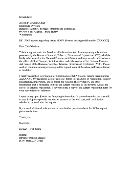 Top 9 Foia Request Letter Templates free to download in PDF format