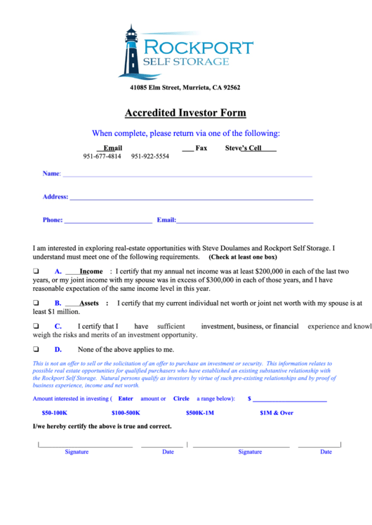 Accredited Investor Form printable pdf download