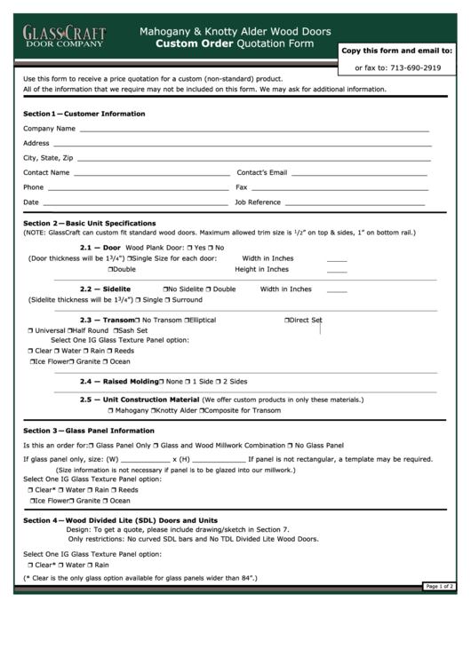 Custom Order Quotation Form