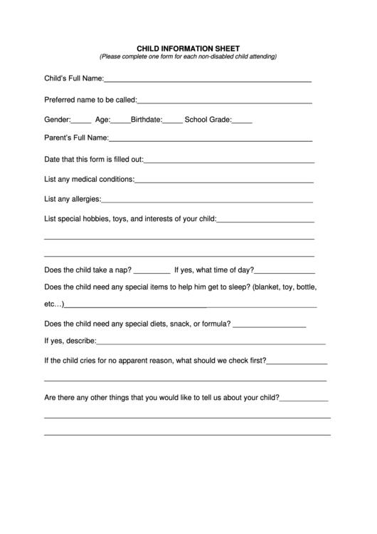 Child Information Sheet