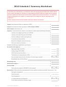 Schedule C Summary Worksheet - 2016
