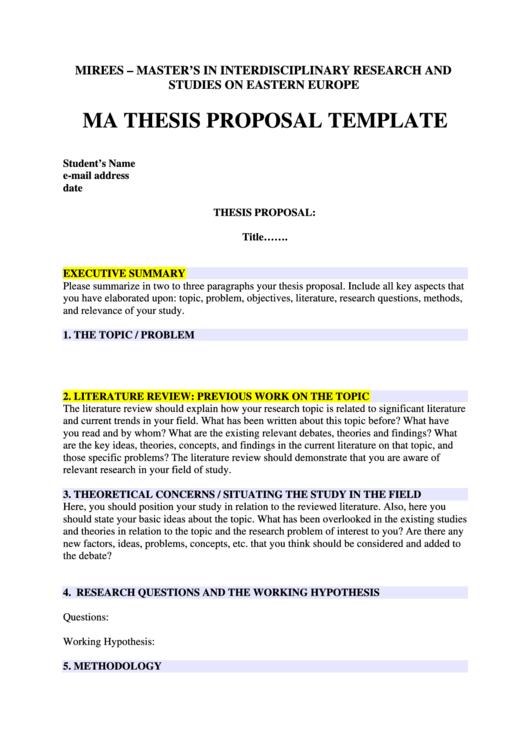 business ma thesis proposal Master thesis: female and gender leadership authors: ainura kadyrkulova tutor: dr pr phillippe daudi and pr mikael lundgren program: the business program.