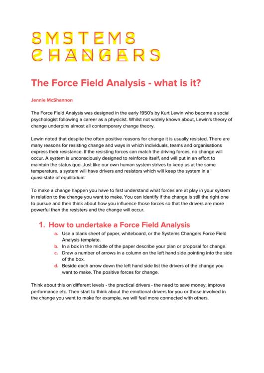 Force Field Analysis (kurt Lewin) Template
