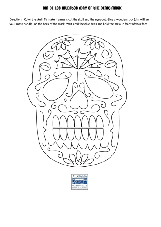 Dia De Los Muertos Day Of The Dead Mask Template