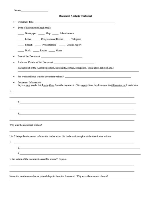 document analysis worksheet printable pdf download