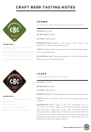 Craft Beer Tasting Notes