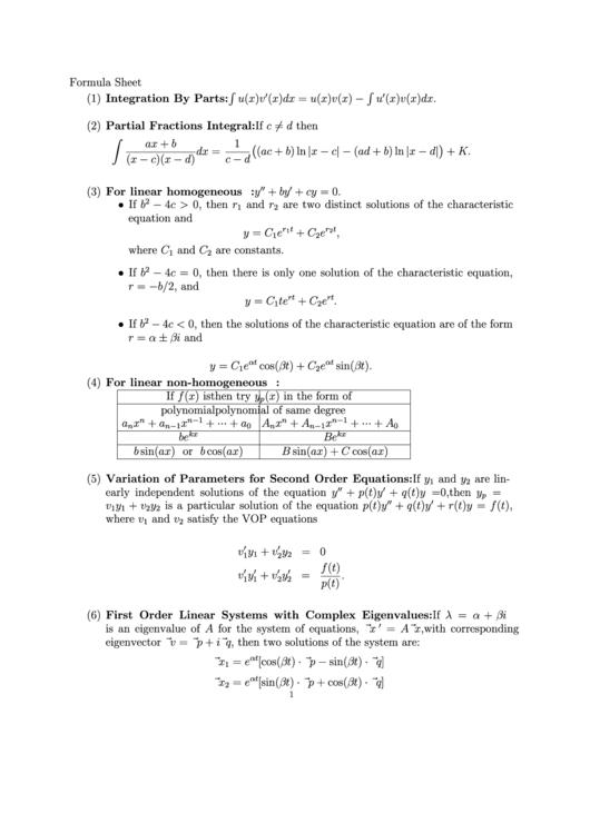 Integral Formula Sheet printable pdf download