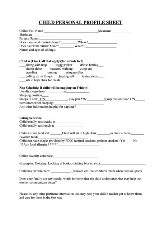 Child Personal Profile Sheet