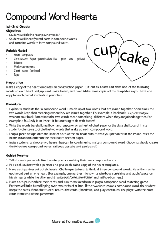 Compound Word Hearts Activity Sheet