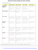 Digital Storytelling Assignment: Rubric Example