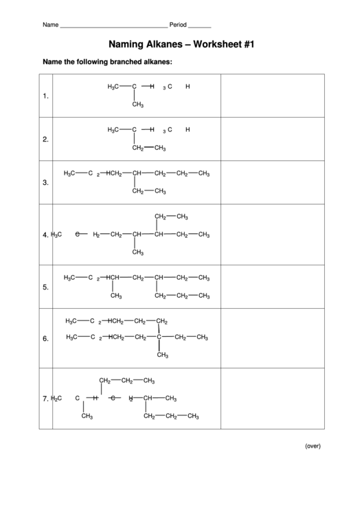 Naming Alkanes Worksheet Printable Pdf Download