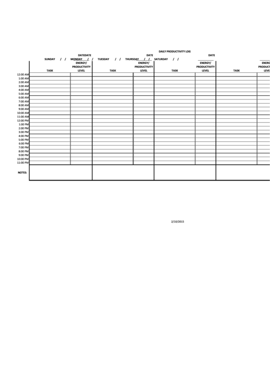 Daily Productivity Log Template