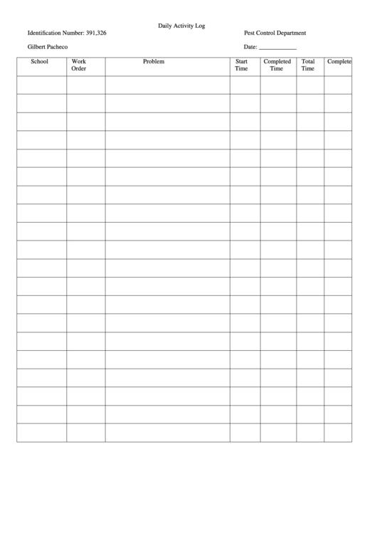 Daily Activity Log Printable pdf