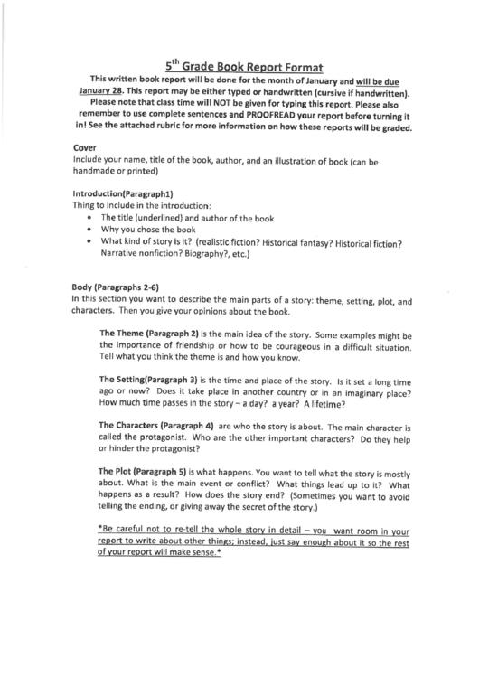 5th Grade Book Report Format