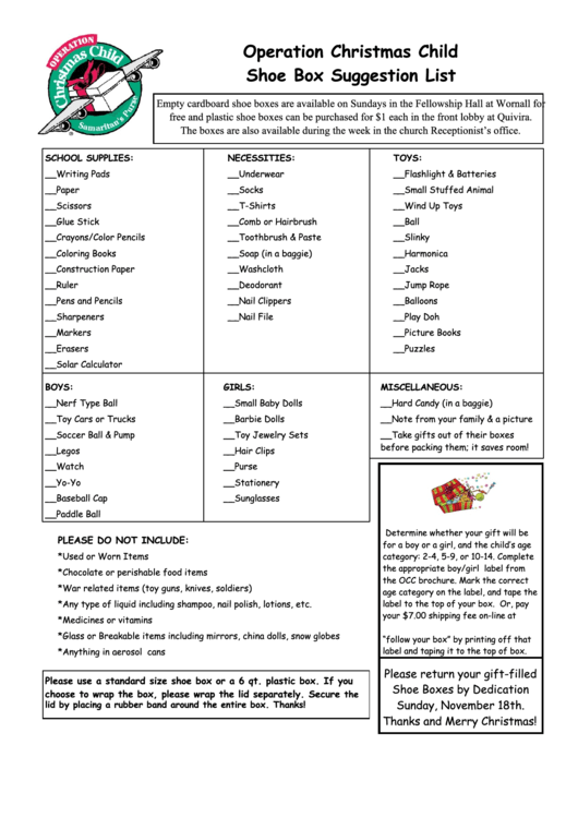 operation christmas child shoe box suggestion list
