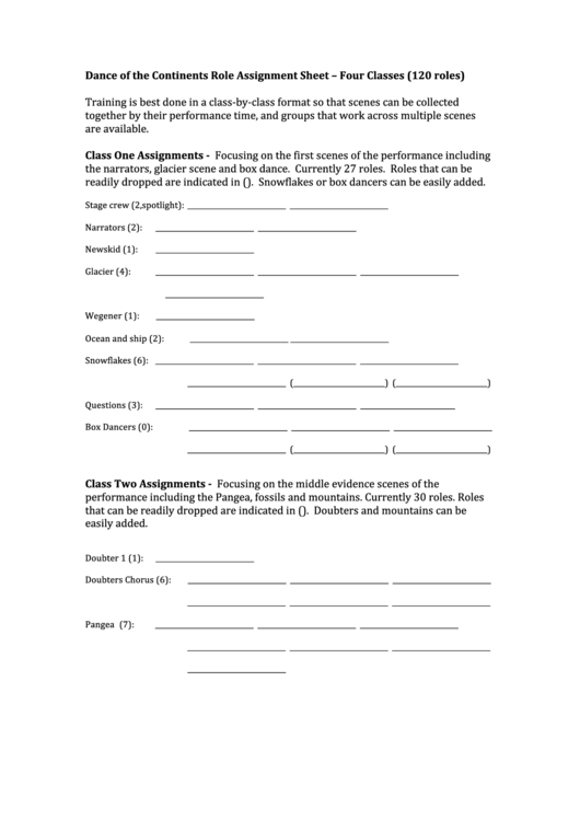 Dance Of The Continents Role Assignment Sheet - Four Classes (120 Roles)