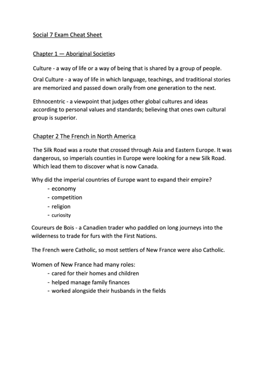Social 7 Exam Cheat Sheet