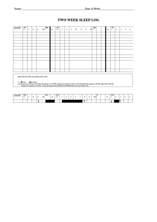 Two Week Sleep Log Printable pdf
