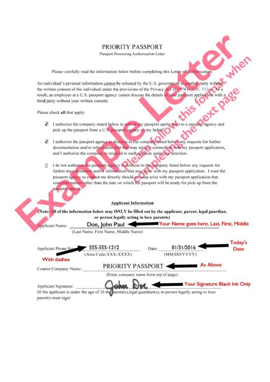 passport processing authorization letter template priority passport