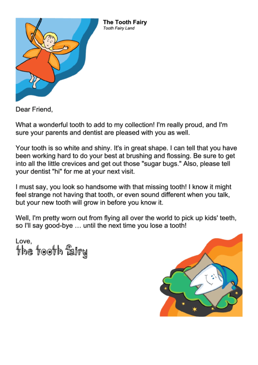 tooth fairy letter for a boy template