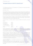 Template Welcome Letter For Parent/carer