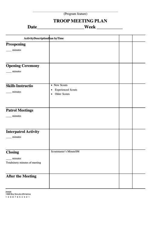 Fillable Troop Meeting Plan Printable pdf