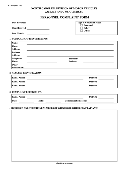 Personnel Complaint Form