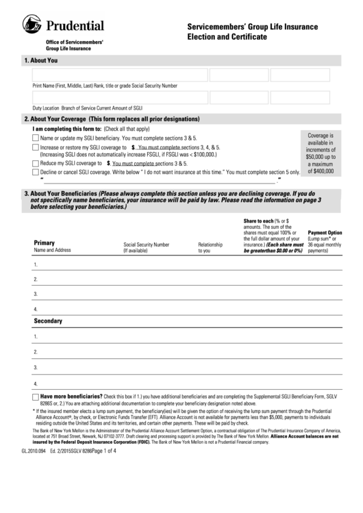 Form Sglv 8286 - Prudential Insurance Servicemembers' Group Life ...