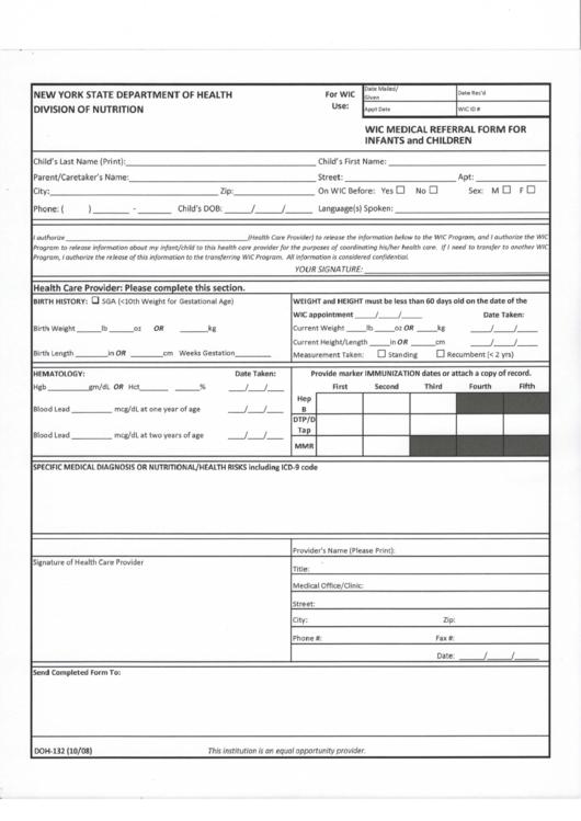 nys department of health wic medical referral form printable pdf download. Black Bedroom Furniture Sets. Home Design Ideas