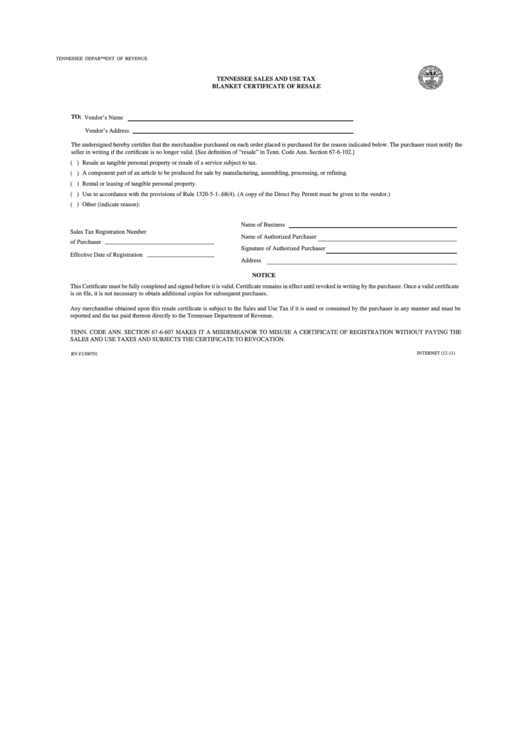 certificate resale tennessee tax sales form blanket pdf printable rv template