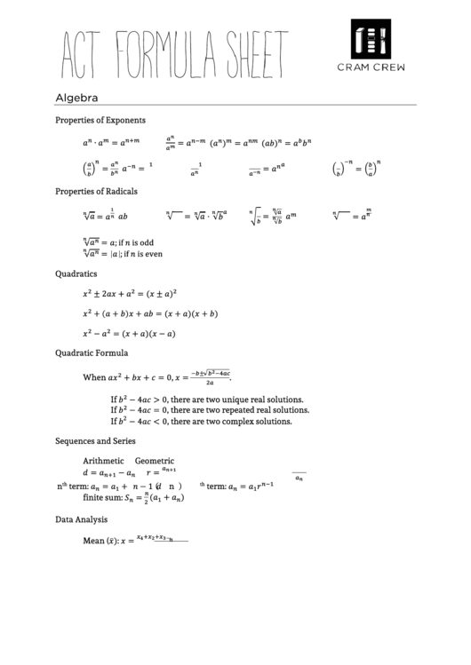 Top Act Formula Sheets free to download in PDF format