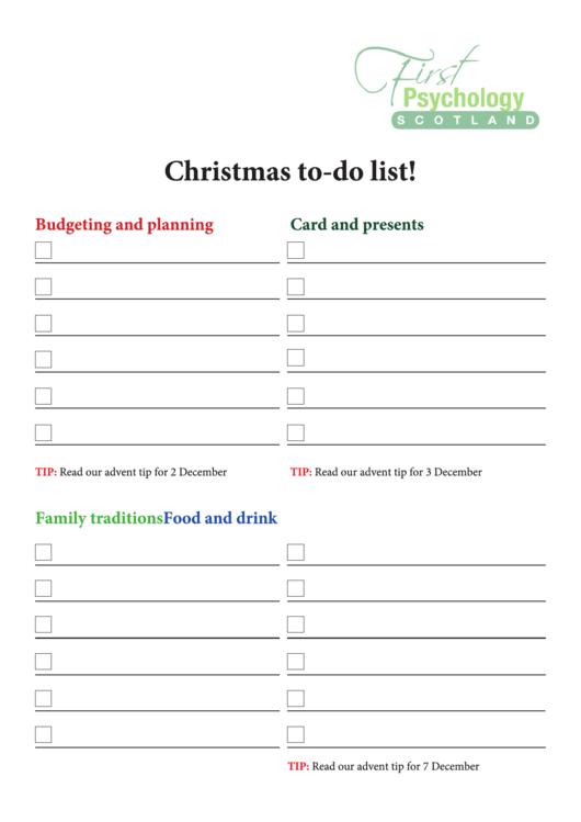 Christmas To-do List Template