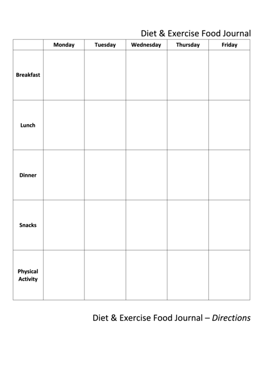 diet exercise food journal template printable pdf download