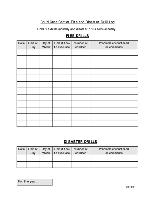 child care center fire and disaster drill log printable pdf download