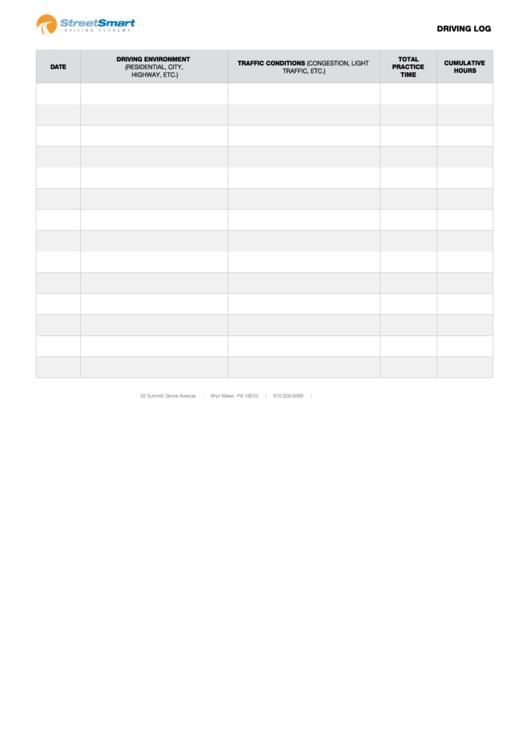 Driving Log Template Printable pdf