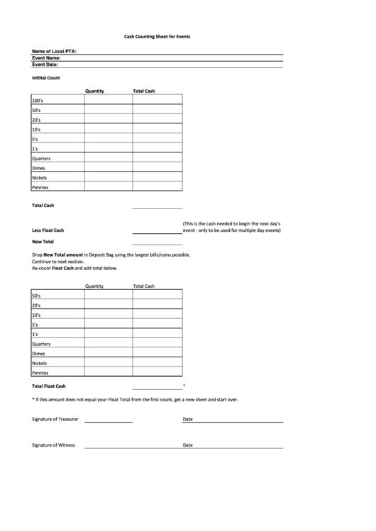 cash counting sheet for events printable pdf download