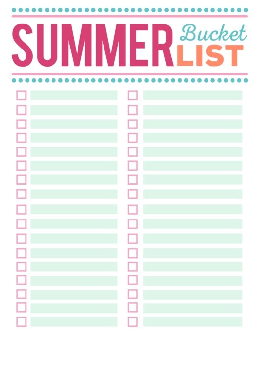 picture regarding Bucket List Printable Template named Multicolor Summertime Bucket Record Template - Blank printable pdf