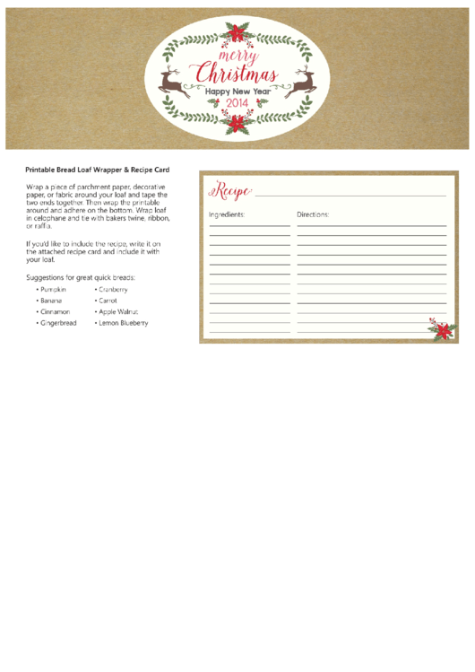Bread Loaf Wrapper And Christmas Recipe Card Template