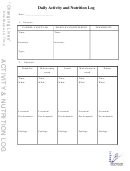 Daily Activity And Nutrition Log Template And Weekly Synopsis