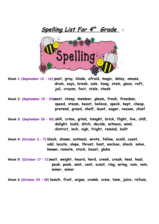 Spelling List For 4 Th Grade