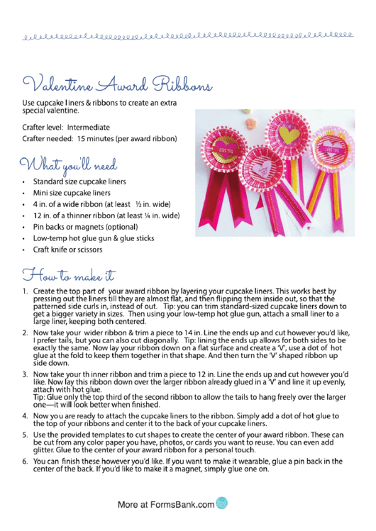 Valentine Award Ribbons Activity Sheet And Templates