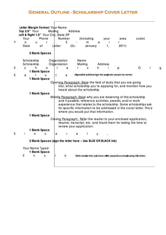 Scholarship Cover Letter Sample Printable pdf