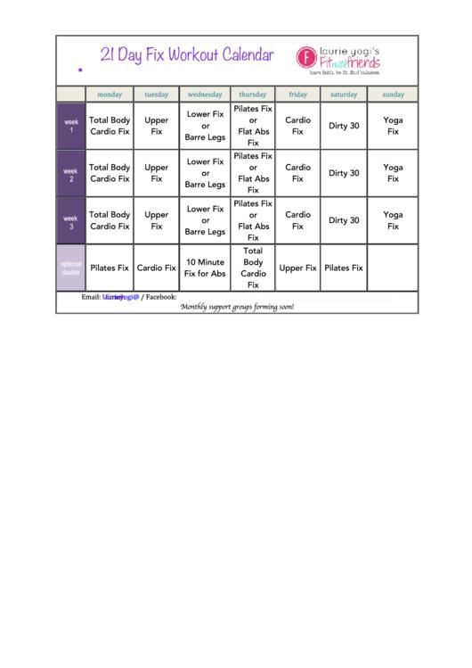 21 Day Fix Workout Calendar Template