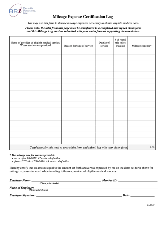 mileage expense certification log template mileage tracking