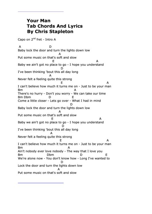 Your Man - Tab Chords And Lyrics - Chris Stapleton printable pdf ...