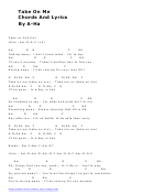 Take On Me - Chords And Lyrics By A-ha