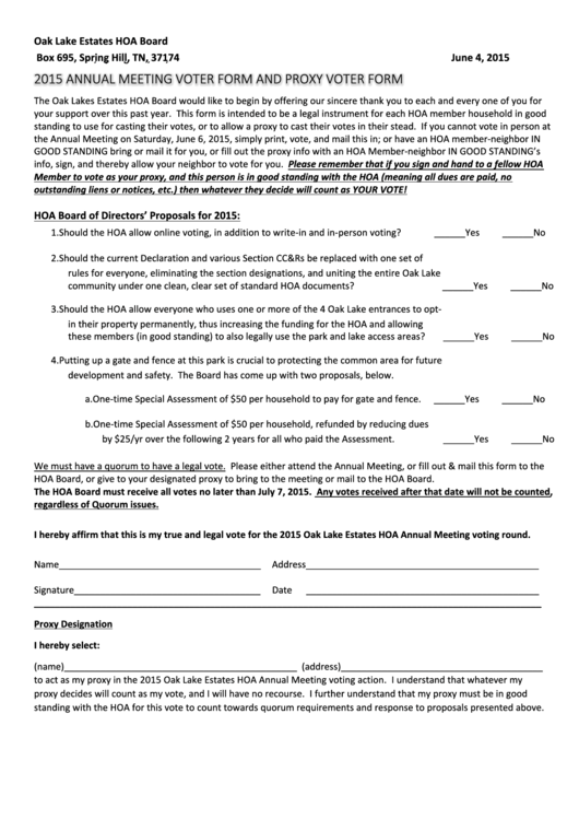 Top 5 Hoa Proxy Form Templates free to download in PDF format