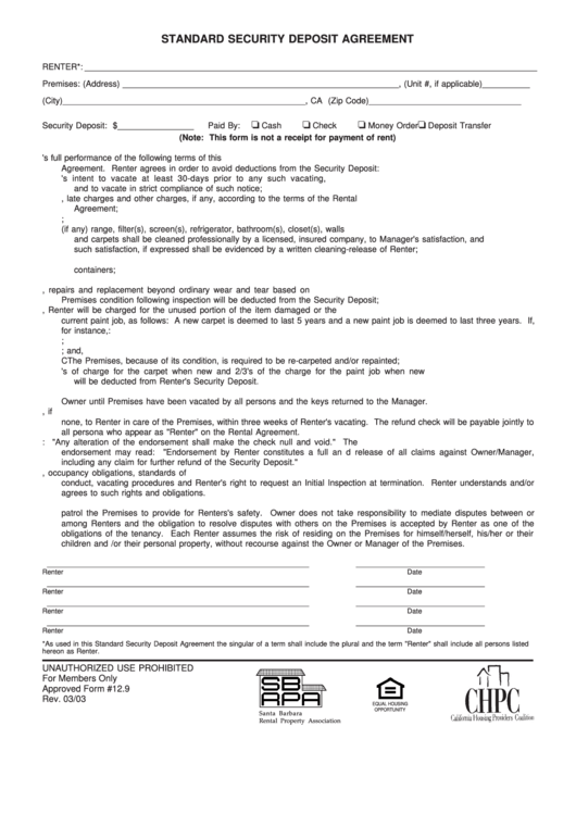 Top 13 Security Deposit Agreement Form Templates Free To